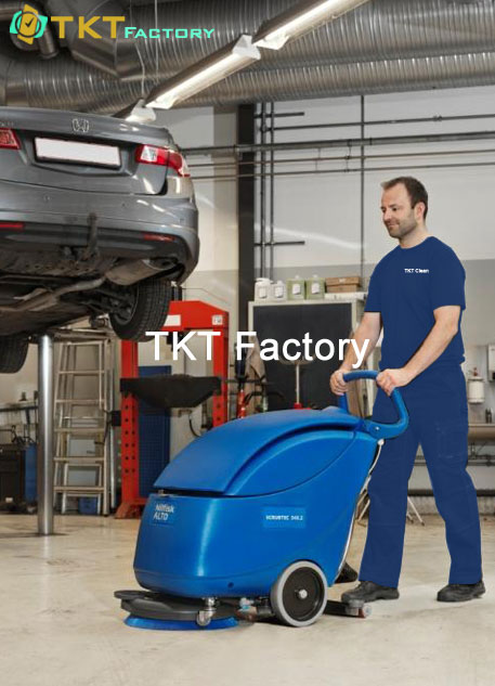 dịch vụ vệ sinh sàn nhà xưởng với máy chà sàn liên hợp TKT Factory