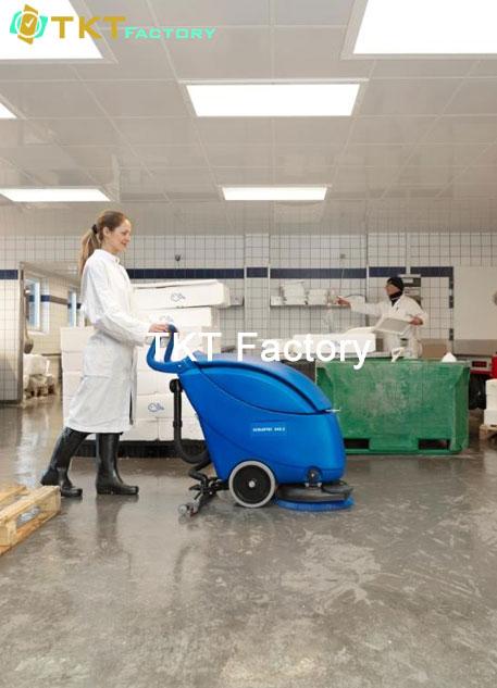 vệ sinh sàn nhà xưởng với máy chà sàn 1 mâm TKT Factory