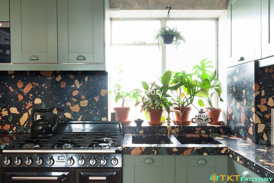 đá bê tông trang trí khu vực bếp