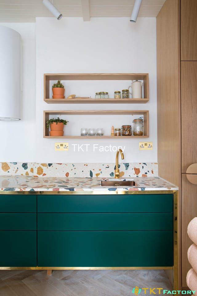 mẫu đá terrazzo nghệ thuật ốp mặt bếp, tường