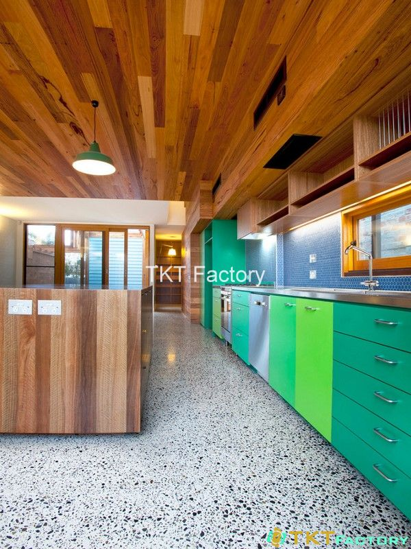 Terrazzo kết hợp màu sắc gỗ cá tính