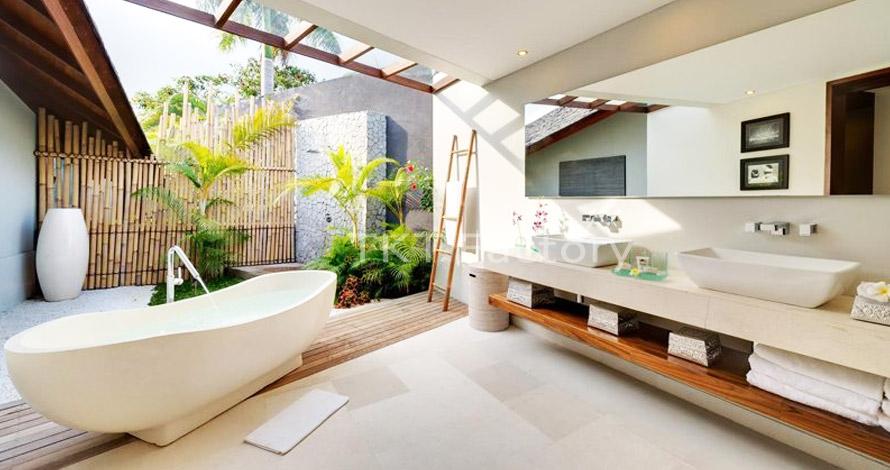 Bồn tắm đá Terrazzo trắng trong phòng tắm