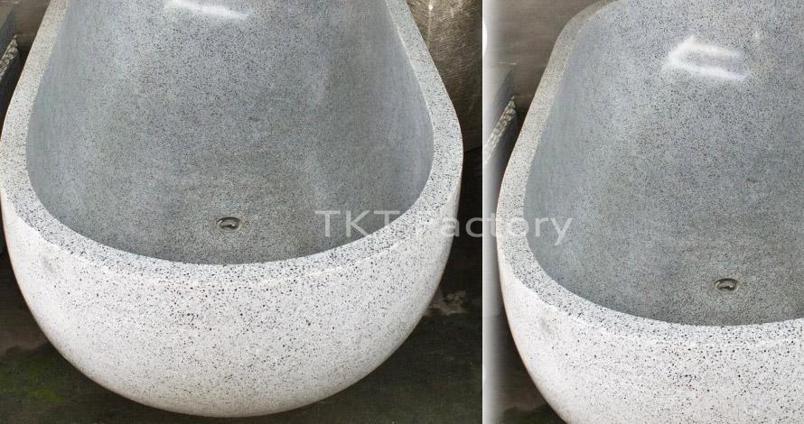 Mẫu bồn tắm đá Terrazzo xám
