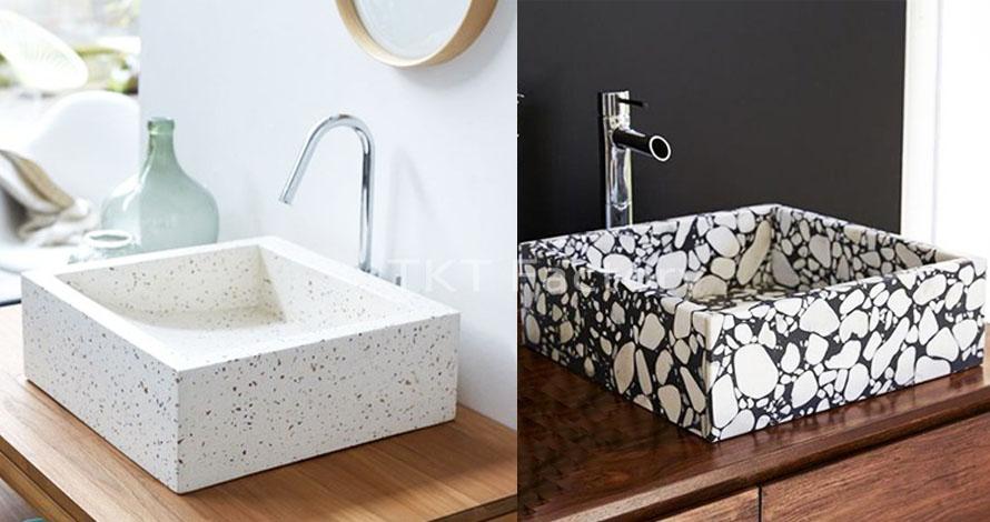 Bồn rửa tay Terrazzo Lavabo Basin Sink Hình vuông