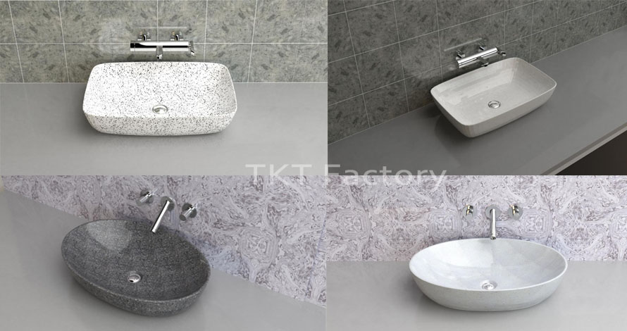 Bồn rửa tay Terrazzo Lavabo Basin Sink Chữ nhật, bầu dục