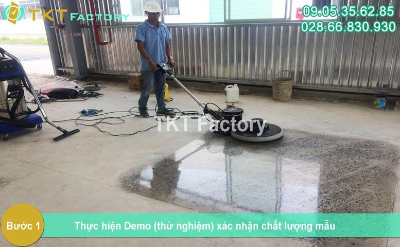 Bước 1 - Demo xác định chất lượng mài sàn bê tông