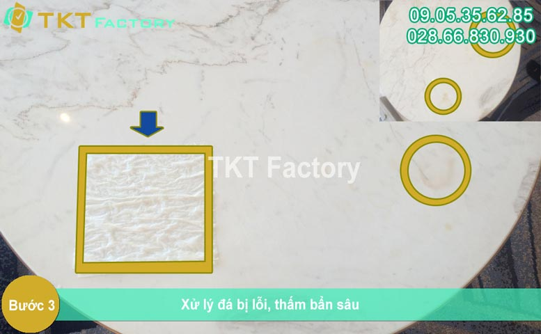 Bước 3 - Xử lý đá bị lỗi thấm nặng