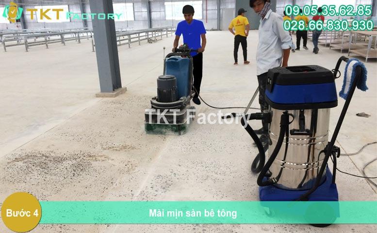 Bước 4 - Mài mịn sàn bê tông