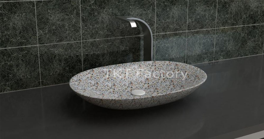 Mẫu bồn rửa tay, rửa mặt hay Lavabo (basin, sink) Terrazzo Mẫu LBTKT-08