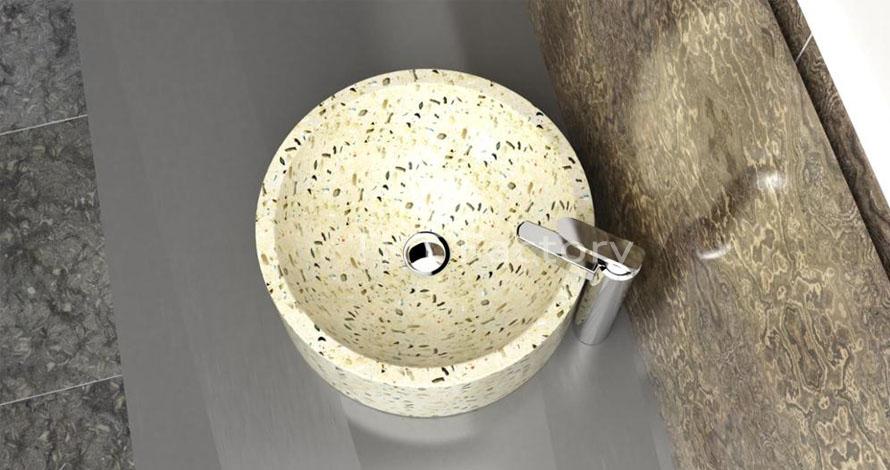 Mẫu bồn rửa tay, rửa mặt hay Lavabo (basin, sink) Terrazzo Mẫu LBTKT-18