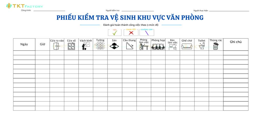 biểu mẫu kiểm tra khu vực văn hòng nhà xưởng