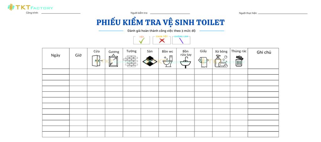biểu mẫu kiểm tra vệ sinh khu vực nhà vệ sinh toilet
