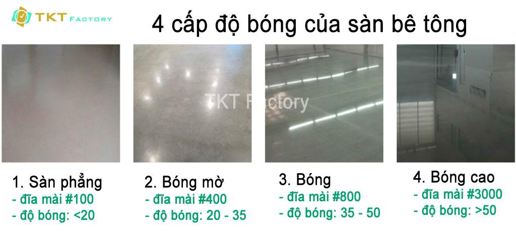 4 cấp độ bóng của sàn bê tông