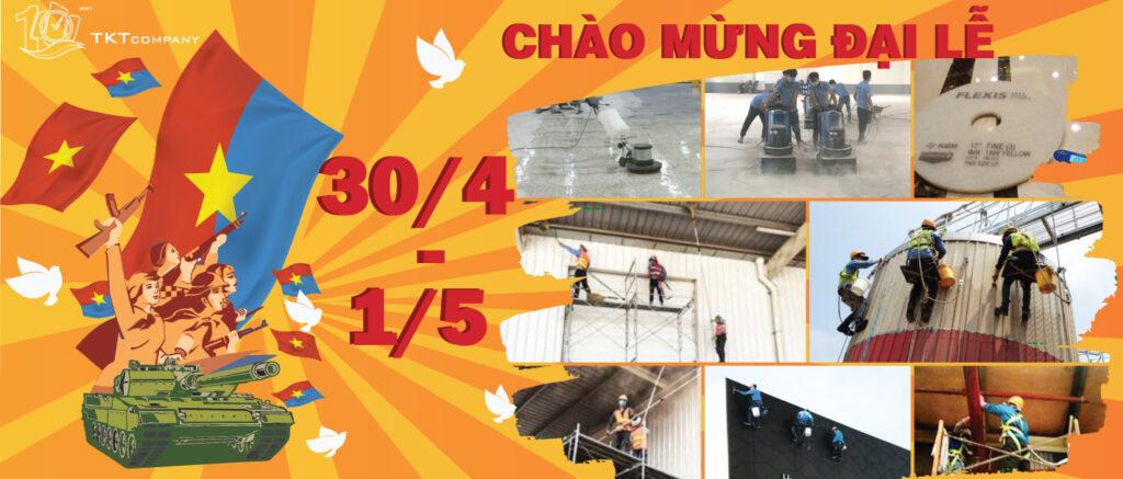 Banner TKT Factory Mừng Lễ Giải Phóng 30/4 và Quốc Tế Lao Động 1/5